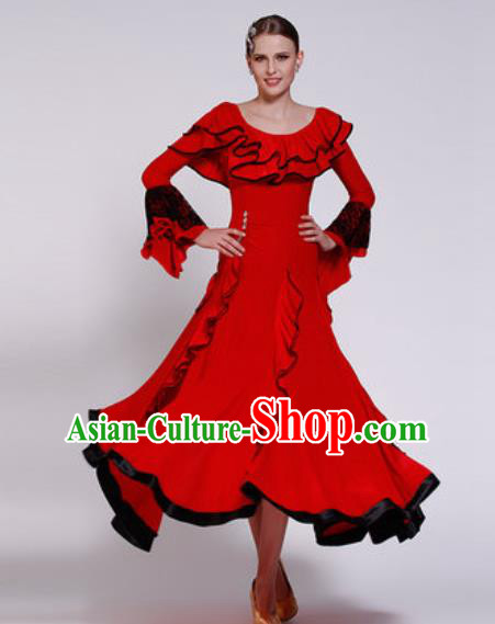 Professional Waltz Competition Modern Dance Red Bubble Dress Ballroom Dance International Dance Costume for Women