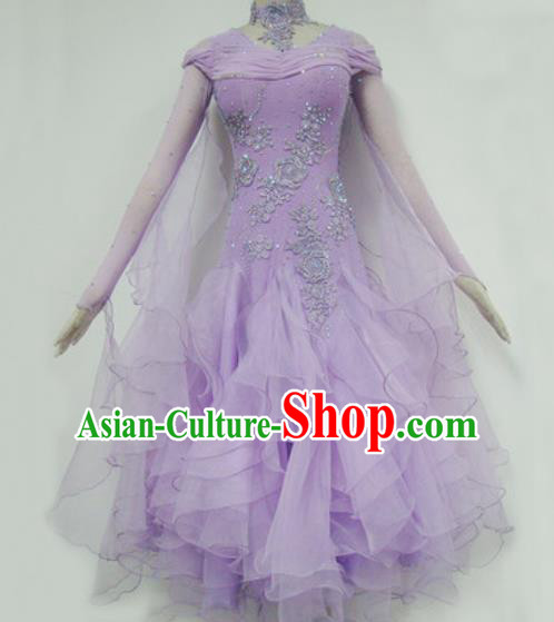 Professional Waltz Competition Lilac Dress Modern Dance Ballroom Dance International Dance Costume for Women