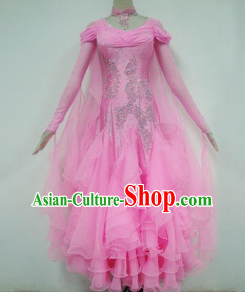 Professional Waltz Competition Pink Dress Modern Dance Ballroom Dance International Dance Costume for Women