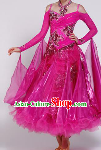 Professional Waltz Dance Rosy Dress Modern Dance Ballroom Dance International Dance Costume for Women
