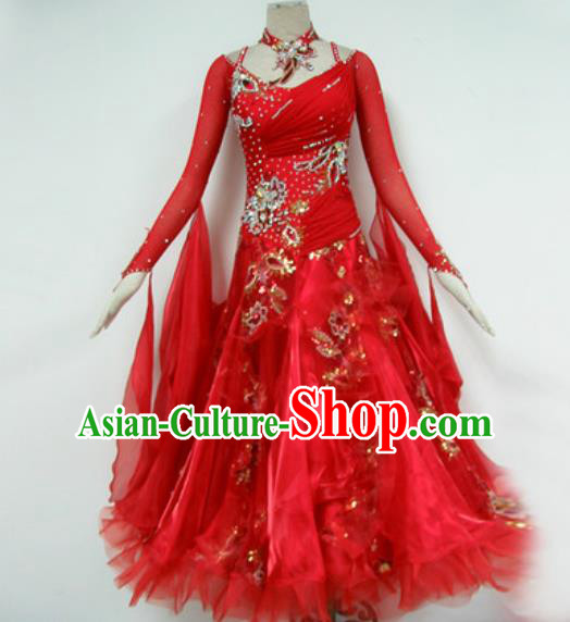 Professional Waltz Dance Red Dress Modern Dance Ballroom Dance International Dance Costume for Women