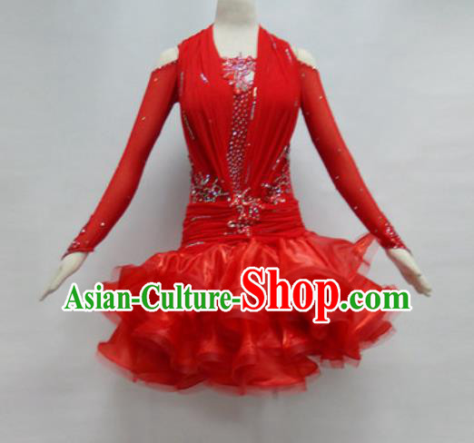 Professional Latin Dance Cha Cha Dance Red Dress Modern Dance International Dance Competition Costume for Women