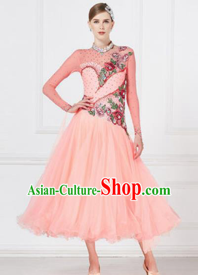 Top Grade Modern Dance Pink Veil Dress Ballroom Dance International Waltz Competition Costume for Women