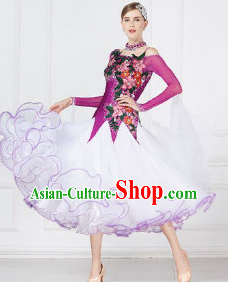 Top Grade Modern Dance Purple Dress Ballroom Dance International Waltz Competition Costume for Women