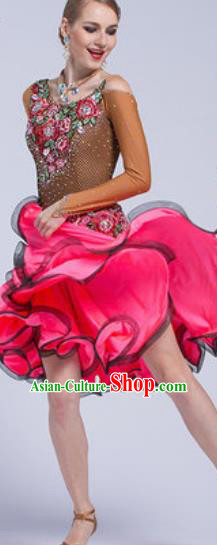 Professional Latin Dance Competition Rosy Short Dress Modern Dance International Rumba Dance Costume for Women