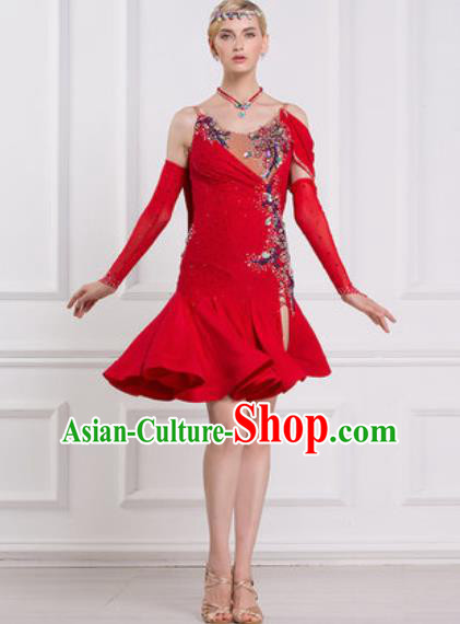 Professional Latin Dance Competition Red Short Dress Modern Dance International Rumba Dance Costume for Women