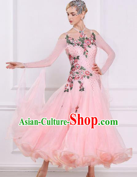 Top Grade Modern Dance Light Pink Veil Dress Ballroom Dance International Waltz Competition Costume for Women