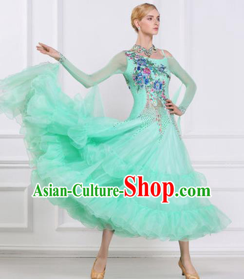 Top Grade Modern Dance Light Green Veil Dress Ballroom Dance International Waltz Competition Costume for Women
