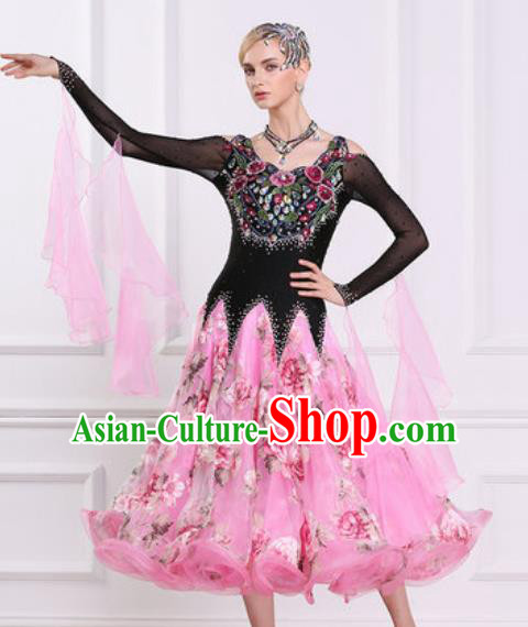 Top Grade Modern Dance Diamante Pink Dress Ballroom Dance International Waltz Competition Costume for Women