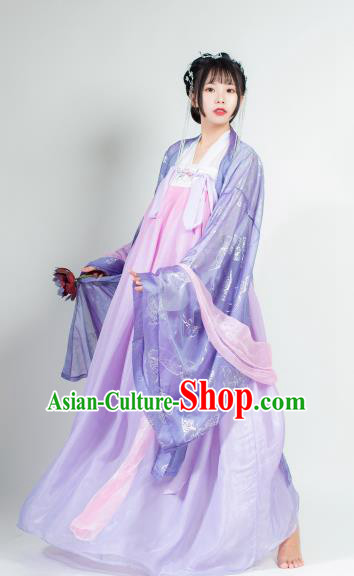 Ancient Chinese Tang Dynasty Purple Hanfu Dress Court Lady Historical Costumes for Women