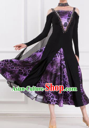 Top Waltz Competition Modern Dance Leopard Dress Ballroom Dance International Dance Costume for Women