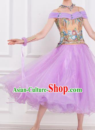 Top Waltz Competition Modern Dance Lilac Dress Ballroom Dance International Dance Costume for Women