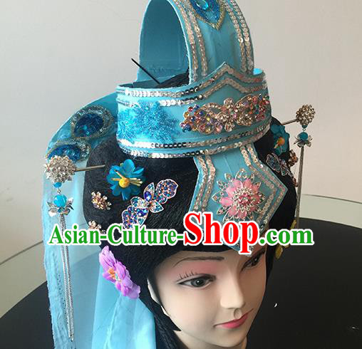 Chinese Beijing Opera Taoist Nun Blue Headgear Traditional Peking Opera Diva Wig Sheath and Hair Accessories for Women