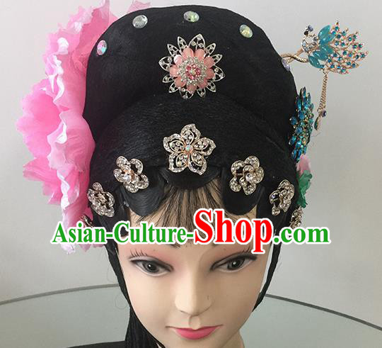Chinese Beijing Opera Peri Headgear Traditional Peking Opera Actress Wig Sheath and Hair Accessories for Women