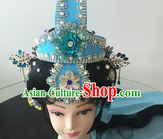 Chinese Beijing Opera Blue Headgear Traditional Peking Opera Taoist Nun Wig Sheath and Hair Accessories for Women