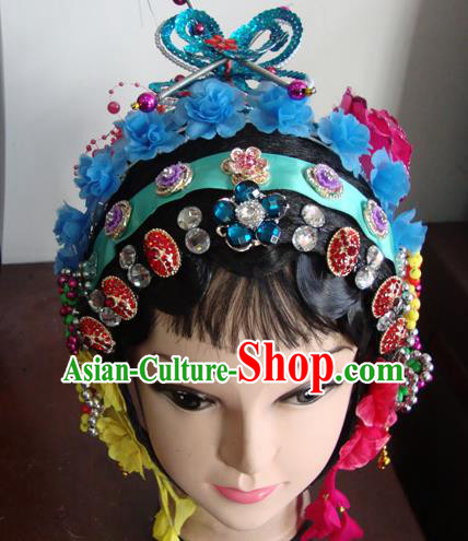 Chinese Beijing Opera Girls Blue Flowers Headgear Traditional Peking Opera Wig Sheath and Hair Accessories for Women