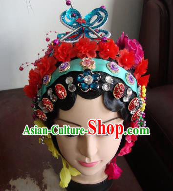 Chinese Beijing Opera Girls Red Flowers Headgear Traditional Peking Opera Wig Sheath and Hair Accessories for Women