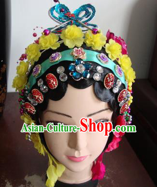 Chinese Beijing Opera Girls Yellow Flowers Headgear Traditional Peking Opera Wig Sheath and Hair Accessories for Women
