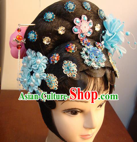 Chinese Beijing Opera Actress Blue Headgear Traditional Peking Opera Wig Sheath and Hair Accessories for Women