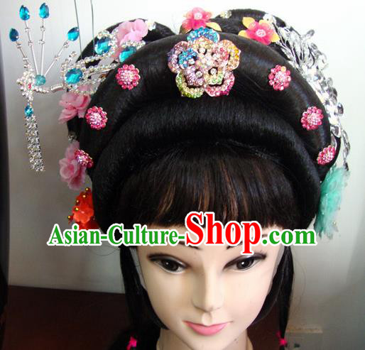 Chinese Beijing Opera Peri Princess Headgear Traditional Peking Opera Wig Sheath and Hair Accessories for Women