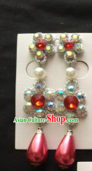 Chinese Beijing Opera Diva Pink Crystal Earrings Traditional Peking Opera Princess Ear Accessories for Women