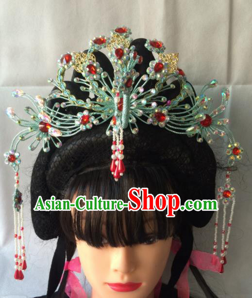 Chinese Beijing Opera Diva Green Phoenix Coronet Hairpins Traditional Peking Opera Queen Hair Accessories for Women