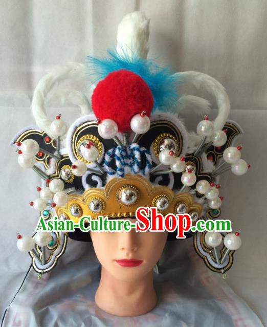 Chinese Beijing Opera Takefu Black Hat Traditional Peking Opera Swordsman Helmet Headwear for Men
