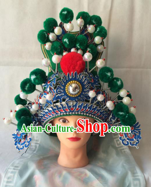 Chinese Beijing Opera Royal Highness Green Hat Traditional Peking Opera Swordsman Helmet Headwear for Men