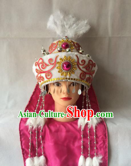 Chinese Beijing Opera Princess White Hat Traditional Peking Opera Diva Hair Accessories for Women