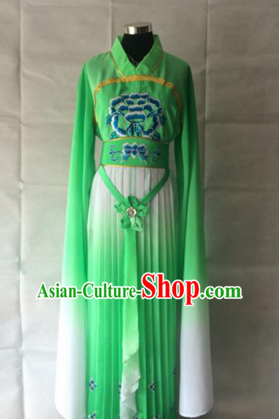 Chinese Beijing Opera Maidservant Green Dress Traditional Peking Opera Young Lady Costume for Women