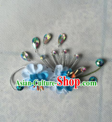 Chinese Beijing Opera Diva Blue Silk Flowers Hair Claw Hairpins Traditional Peking Opera Hair Accessories for Women