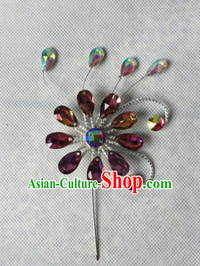 Chinese Beijing Opera Diva Purple Crystal Hairpins Traditional Peking Opera Hair Accessories for Women