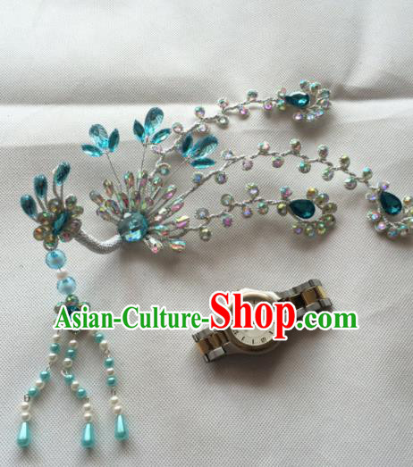 Chinese Beijing Opera Princess Blue Crystal Phoenix Hairpins Traditional Peking Opera Diva Hair Accessories for Women