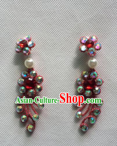 Chinese Beijing Opera Princess Red Earrings Traditional Peking Opera Diva Jewelry Accessories for Women