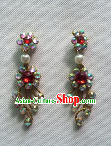 Chinese Beijing Opera Princess Golden Earrings Traditional Peking Opera Diva Jewelry Accessories for Women