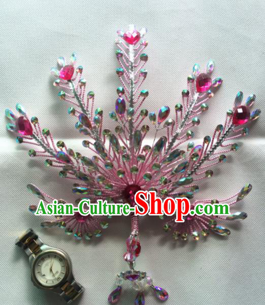 Chinese Beijing Opera Queen Pink Phoenix Hair Crown Hairpins Traditional Peking Opera Diva Hair Accessories for Women