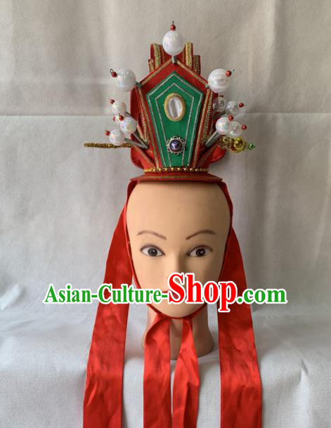 Chinese Beijing Opera Niche Red Hair Crown Traditional Peking Opera Prince Headwear for Men