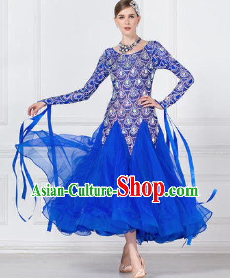 Professional Modern Dance Waltz Royalblue Veil Dress International Ballroom Dance Competition Costume for Women
