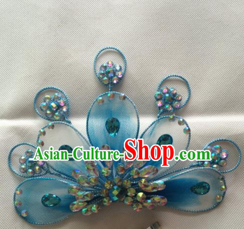 Chinese Beijing Opera Blue Hairpins Traditional Peking Opera Diva Hair Accessories for Women