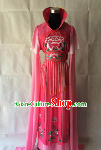Chinese Beijing Opera Maidservant Rosy Dress Traditional Peking Opera Young Lady Costume for Women
