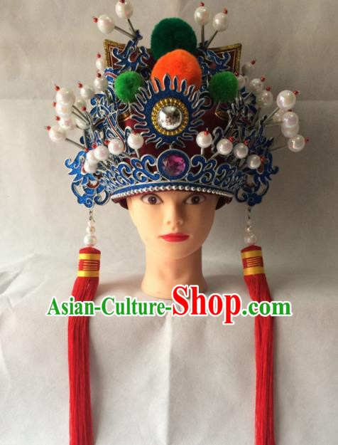 Chinese Beijing Opera Prince Helmet Red Hat Traditional Peking Opera Takefu Headwear for Men
