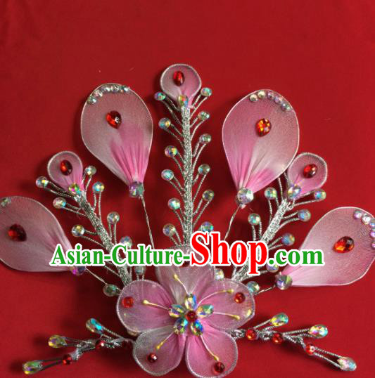 Chinese Beijing Opera Actress Pink Hairpins Traditional Peking Opera Princess Hair Accessories for Women