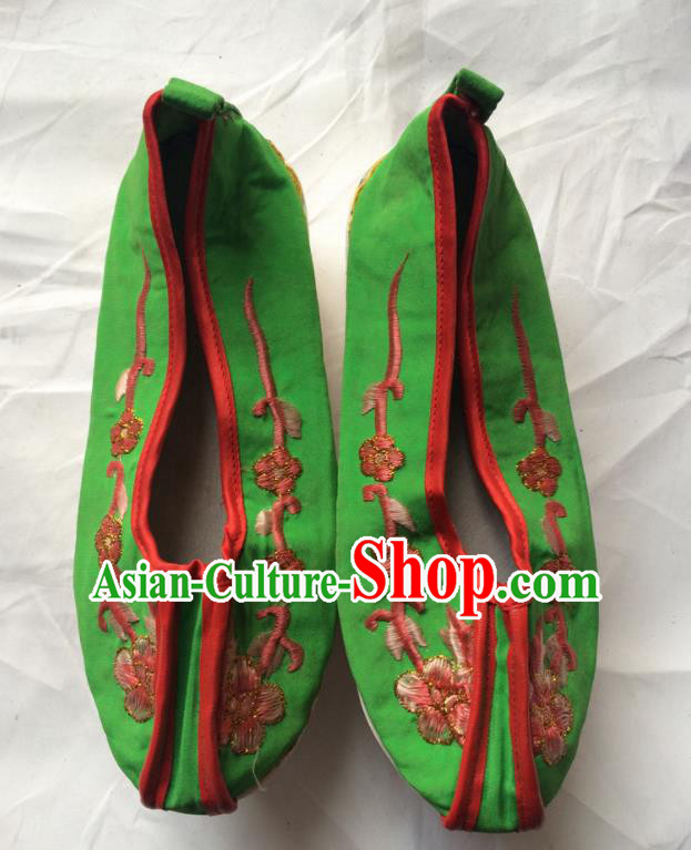 Chinese Beijing Opera Princess Green Shoes Traditional Peking Opera Diva Embroidered Shoes for Women