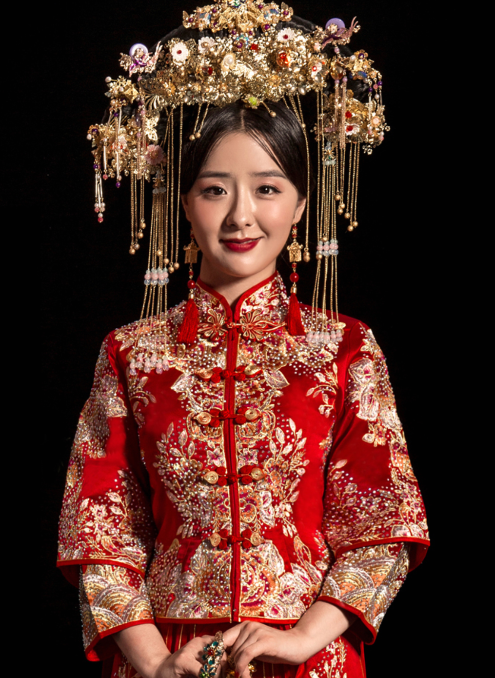 Top Chinese Most Romantic Red Princess Wedding Dress Beautiful Garment
