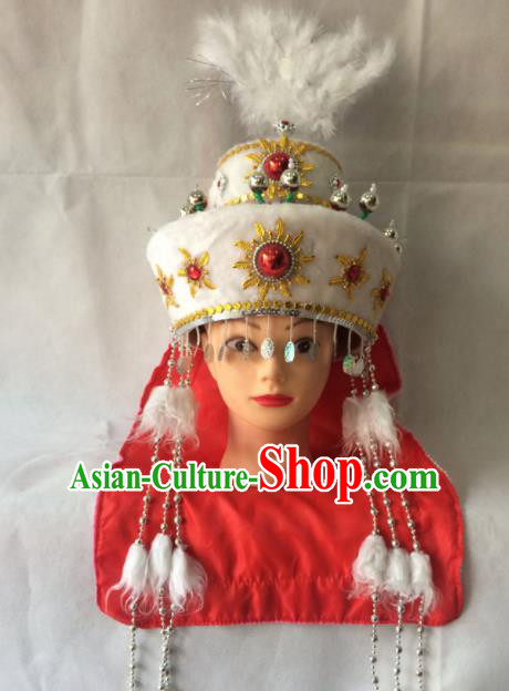 Chinese Beijing Opera Princess Han Xiang White Hat Traditional Peking Opera Diva Hair Accessories for Women