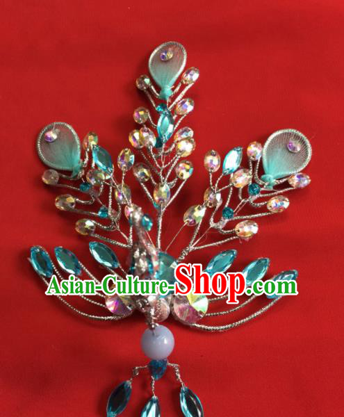Chinese Beijing Opera Actress Blue Crystal Phoenix Hairpins Traditional Peking Opera Princess Hair Accessories for Women