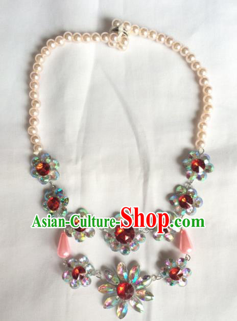 Chinese Beijing Opera Princess Red Crystal Necklace Traditional Peking Opera Diva Necklet Accessories for Women