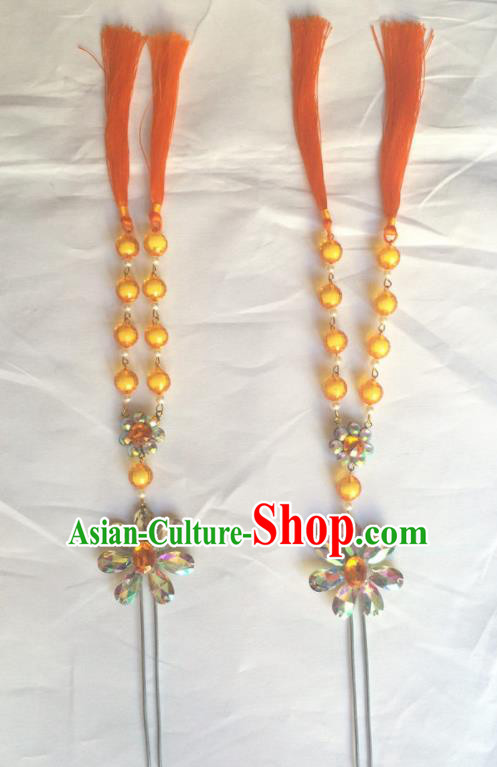 Chinese Beijing Opera Diva Orange Beads Tassel Hairpins Traditional Peking Opera Hair Accessories for Women