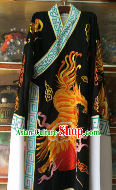 Chinese Beijing Opera Takefu Black Embroidered Robe Traditional Peking Opera General Costume for Men