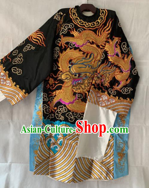 Chinese Beijing Opera Emperor Black Embroidered Robe Traditional Peking Opera General Costume for Men